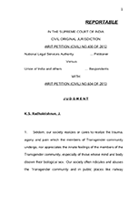 National Legal Services Authority v. Union of India [Writ Petition (Civil) No. 400 of 2012]