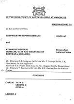 Motshidiemang V Attorney General Botswana (2019)