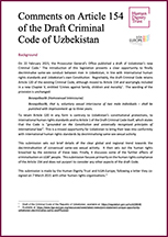Comments on Article 154 of the Draft Criminal Code of Uzbekistan